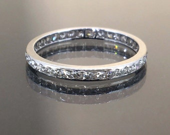 Sparkly 14k White gold natural Round cut VS-1 Diamond Eternity band ring .52ctw