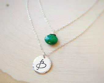 Custom Birthstone & Initial necklace, Personalized Layering necklace set, gemstone jewelry, Two necklace set, Otis B, white topaz, April
