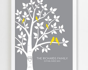 Personalized Family Tree Art Print, Wedding Anniversary Gift, Engagement Couple Gift, Home Wall Decor Poster