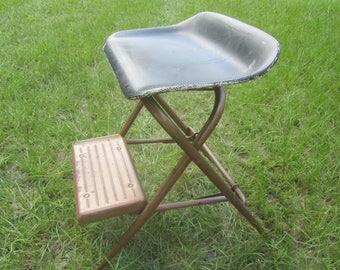 Vintage Metal Step Stool, Step Chair, Stool Step Ladder, Folding Step Stool, Kitchen Stool, Photo Prop
