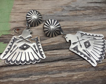 Large Navajo Vince Platero Sterling Silver Concho Earrings, Native American Indian Jewelry