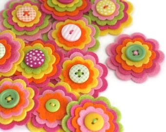 TUTTI FRUITTI x 3 Felt Flower Embellishments, Felties, Handmade Flowers, Felt Flower Applique, Felt Embellishment, Felt Wedding Flowers