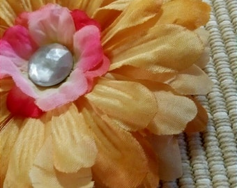 Yellow Variegated Shimmer Jewel Center Flower Hair Accessory Headband Clip Brooch #037