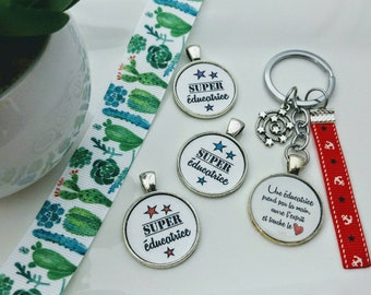 Teacher key chain - end of year gift, thank you, thank you, charm, Ribbon, super, daycare, PBS, children, daycare, school