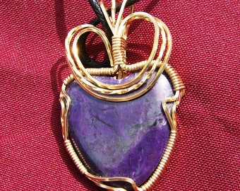 Exquisite Sugilite Pendant - Dark Purple Natural Gemstone Wire Wrapped with 14k Gold Filled Wire by JewelryArtistry - P706