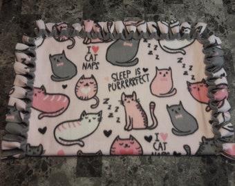 I Love Cat Naps No-Sew Fleece Throw Blanket