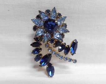 "Coro Cobalt & Light Blue Rhinestone Flower Brooch Pin  2.25"" x 1.75"" Vintage"