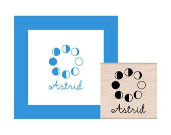 Moon Phases Personalized Rubber Stamp