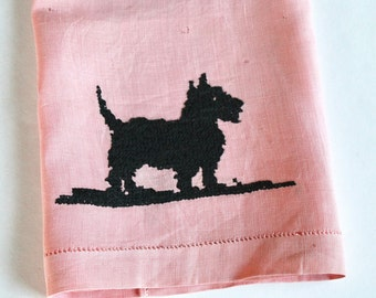 Vintage 1940s/1950s Pink Embroidered/Cross-Stiched Black Scottie Dog Linen Hand Towel/Napkin