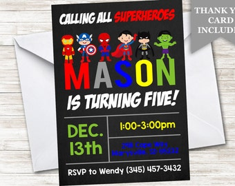 Superhero Birthday Invitation Invite 5x7 Digital Personalized Chalkboard Colors