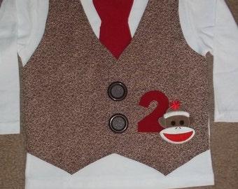 Sock Monkey Vest and Tie Shirt