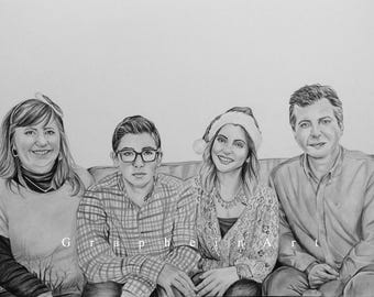 Custom family portrait drawing from your photo