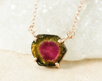 Watermelon Tourmaline Slice Necklace - Raw Tourmaline Pendants - Choose Your Tourmaline