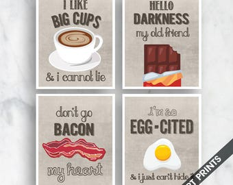 Big Cups, Darkness, Bacon my Heart, Egg-cited (Funny Kitchen Song Series) Set of 4 Art Prints (Featured in Vintage Linen) Kitchen Art