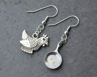 Chicken and Egg earrings - fat hen and frying pan with fried egg - hypoallergenic silver plated surgical steel hooks -Free Shipping USA