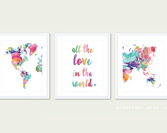 World Map Nursery Art Prints - Set of 3 Prints - All The Love in the World Print - Modern Nursery Art - 5x7 or 8x10 - Frames not included
