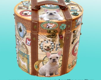 Large Embellished Parisian Box Decoupaged Cream White French Bulldogs-Hand Decorated Custom Made Jewelry-Keepsake-Memory Art Dog Gift