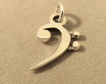 Bass clef pendant etsy sterling silver 3 d bass clef charm pendant sheet music score band 925 sterling aloadofball Images