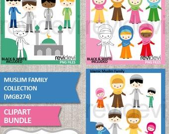 Muslim family clipart sale bundle, Islam man woman kids clip art / hijab girls, digital images, commercial use