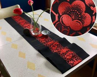 """Table Runner made from a Vintage Japanese Obi Belt """"Red Runner"""""""