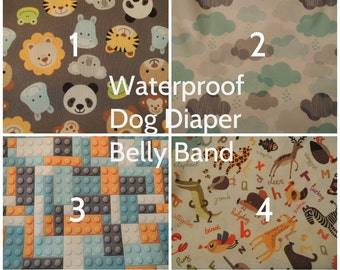 Personalized Male Dog Diaper, Waterproof PUL Fabric with Zorb, Belly Band, Stop Marking