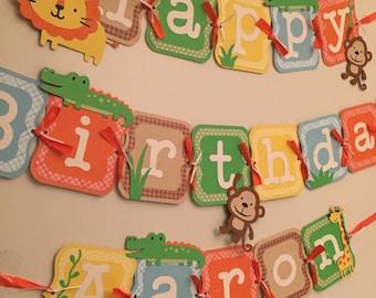 jungle birthday banner, safari birthday banner, zoo party banner!