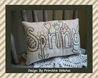 Folk Art Spring-Primitive Stitchery E-PATTERN-by Primitive Stitches-Instant Download