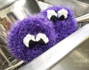 Sparkly Purple Critter Dish Scrubbers - Cute Kitchen Decor - Fun Hand Knit Housewarming Gift - Adorable Gift Set - Dish Scrubby Monsters