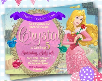 Sleeping Beauty Invitation, Disney Aurora Invitations, Sleeping Beauty Birthday Invitation, Princess Aurora Birthday Invite - P614
