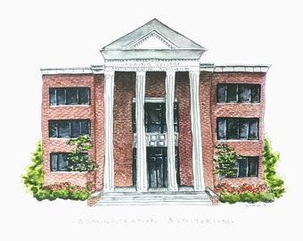 Administration Auditorium- Watercolor Print- Harding University
