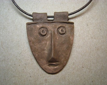 Artifact Inspired Unpolished Copper Face Pendant - Copper Pendant - Face Necklace - Archaeology