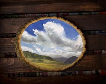 Wyoming Oil Landscape Painting - Landscape Painting - Oil Painting - Wood Slice Painting