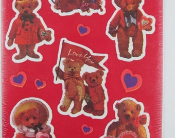 Valentine's Day Stickers, 4 Sheets Teddy Bears and Hearts, American Greetings, Vintage