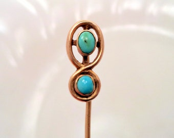Antique 14K Solid Gold Genuine Turquoise Stick Pin