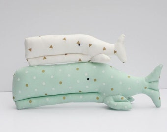 Stuffed whale toys white mint seafoam green teal plush whale softie stuffed whales child friendly nautical baby shower gift nursery decor