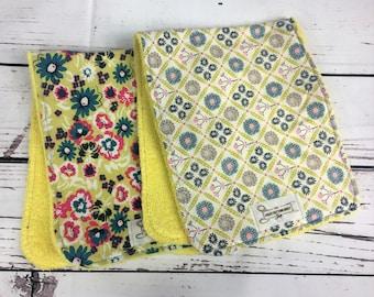 Floral Yellow Burp Cloths