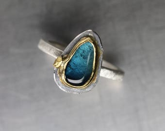 Blue Tourmaline Slice Silver 22K Yellow Gold Statement Ring Tumbled Teal Gemstone Namibia Unique Boho Drop Setting Her - Indicolite Island
