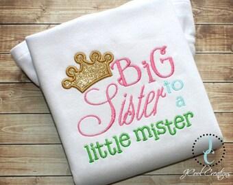 Big Sister Shirt or Dress - Big Sister Gift, Big Sister Dress, Big Sister Announcement, Sibling Outfits, Big Sister Outfit, Little Mister