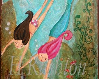 "Mermaid Art - Kids Wall Art- Children Decor- 8 x 10 and 5x7 Print ""Castle Under the Sea"" (brunette)"