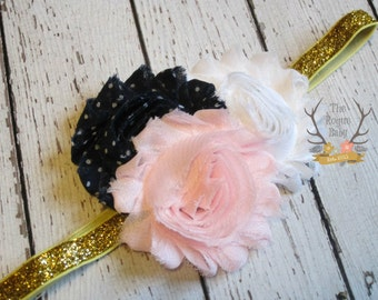 Navy Blue Gold & Pink - Glitter - Baby Pink - Navy Blue White Polka Dot  - Gold -  Newborn Baby Adult Wedding Flower Girl Cake Smash