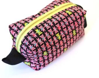 Pink Kawaii Bears Large Boxy Bag with Metal Zipper - Makeup Bag / Pencil Bag/Toiletry Bag