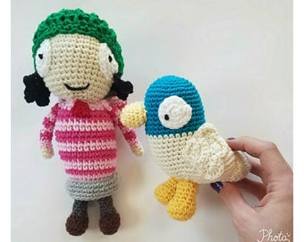 Crochet Sarah and Duck, crochet doll, crochet duck, Sarah and duck, cotton toy, toy Sarah and duck