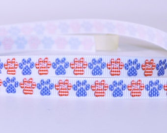 "Paw Dog Cat USA America Stars Flag Patriotic Grosgrain Ribbon 3/8"" Wide Scrapbooking HairBows Parties DIY Projects az485"