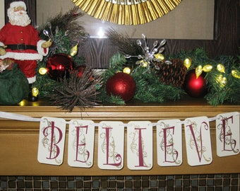 Believe in the Magic of Christmas Banner Garland QueenBeeInspirations