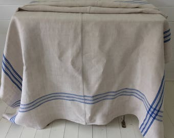 NCT1602 Blue Stripe Tablecloth Linen for Cafe Tables