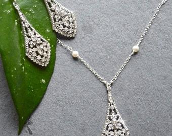 Bridal Jewelry set, Wedding Jewelry, Art Deco Jewelry, Sterling silver Bridal jewellery, Crystal chandelier earrings, vintage bridal jewelry