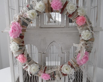 shabby chic wreath floral weath fabric wreath door wreath wedding decor boho decoration rag style wreath pink and cream vintage lace 14 inch