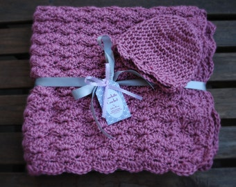 Crochet Baby Blanket with Matching Hat - Plum Wine