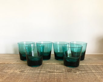 Set of 6 Cyan Blue Rocks Juice Glasses