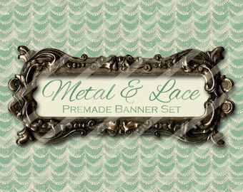 "Shop banner - Shop banner Set - Etsy shop banner set - Graphic banners - Banners - ""Metal and Lace"""